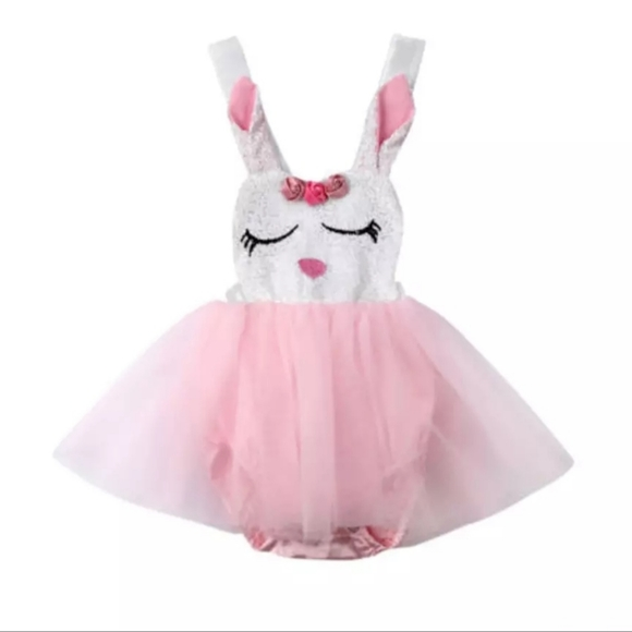 Little Secrets Clothing Baby Girls My 1st Easter Light Pink Tutu Romper with Headband Silver Bunny 0-18months
